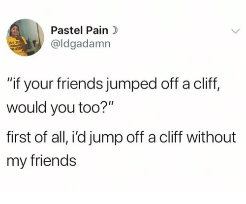 "Friends, Humans of Tumblr, and Jumped: Pastel Pain)  aldgadamn  ""if your friends jumped off a cliff,  would you too?""  first of all, i'd jump off a cliff without  my friends"
