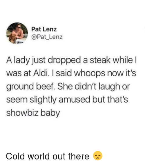 Beef, Aldi, and World: Pat Lenz  @Pat Lenz  A lady just dropped a steak whileI  was at Aldi. I said whoops now it's  ground beef. She didn't laugh or  seem slightly amused but that's  showbiz baby Cold world out there 😞
