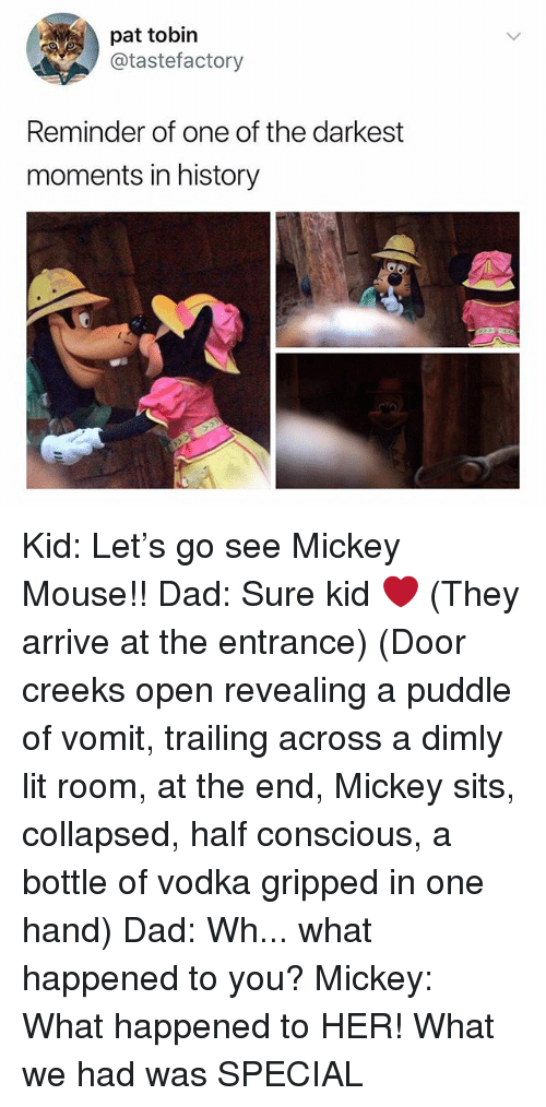 Dad, Lit, and History: pat tobin  @tastefactory  Reminder of one of the darkest  moments in history Kid: Let's go see Mickey Mouse!! Dad: Sure kid ❤️ (They arrive at the entrance) (Door creeks open revealing a puddle of vomit, trailing across a dimly lit room, at the end, Mickey sits, collapsed, half conscious, a bottle of vodka gripped in one hand) Dad: Wh... what happened to you? Mickey: What happened to HER! What we had was SPECIAL