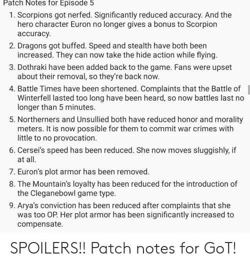 patch notes season 8 episode 5