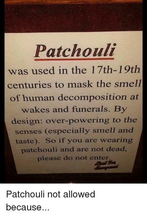 Patchouli Was Used In The 17th 19tih Centuries To Mask The Smell Of