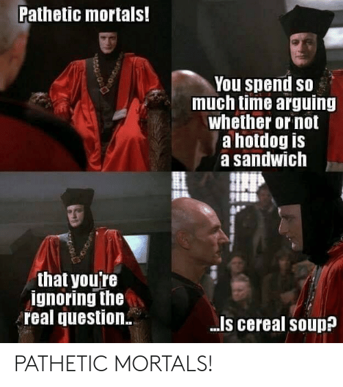 The Real, Time, and Sandwich: Pathetic mortals!  You spend so  much time arguing  whether or not  a hotdog is  a sandwich  that youTe  ignoring the  real question  -Is cereal souD PATHETIC MORTALS!