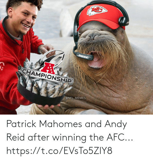 Andy Reid, Football, and Nfl: Patrick Mahomes and Andy Reid after winning the AFC... https://t.co/EVsTo5ZlY8