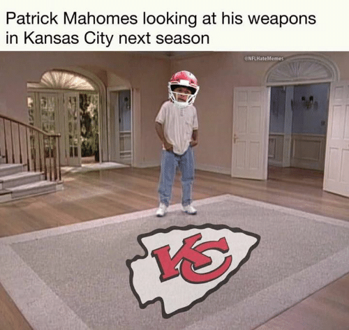 Nfl, Kansas City, and Kansas: Patrick Mahomes looking at his weapons  in Kansas City next season  eNFLHateMemes