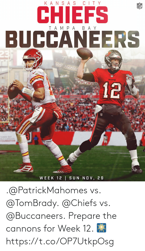 Memes, Chiefs, and 🤖: .@PatrickMahomes vs. @TomBrady. @Chiefs vs. @Buccaneers.  Prepare the cannons for Week 12. 🎆 https://t.co/OP7UtkpOsg