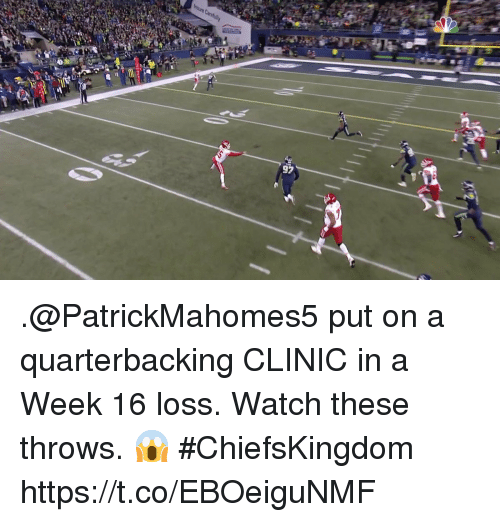 Memes, Watch, and 🤖: .@PatrickMahomes5 put on a quarterbacking CLINIC in a Week 16 loss.   Watch these throws. 😱  #ChiefsKingdom https://t.co/EBOeiguNMF