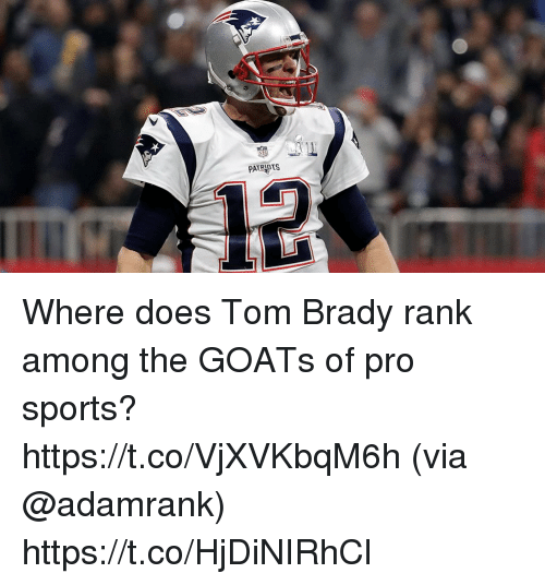 Memes, Sports, and Tom Brady: PATRIDIS Where does Tom Brady rank among the GOATs of pro sports? https://t.co/VjXVKbqM6h (via @adamrank) https://t.co/HjDiNIRhCl