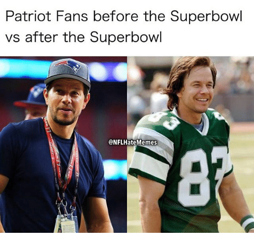 Patriot Fans Before the Superbowl vs After the Superbowl