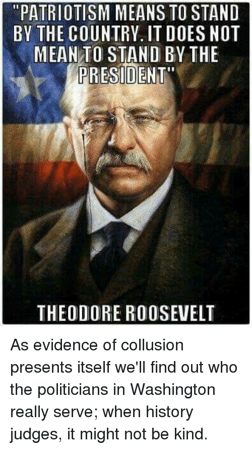 """History, Mean, and Patriotism: """"PATRIOTISM MEANS TO STAND  BY THE COUNTRY, IT D0ES NOT  MEAN TO STAND BY THE  PRESIDENT  THEODORE ROOSEVELT As evidence of collusion presents itself we'll find out who the politicians in Washington really serve; when history judges, it might not be kind."""