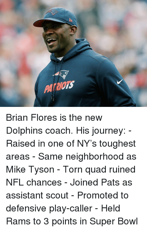 Journey, Mike Tyson, and Nfl: PATRIOTS Brian Flores is the new Dolphins coach.  His journey: - Raised in one of NY's toughest areas - Same neighborhood as Mike Tyson - Torn quad ruined NFL chances - Joined Pats as assistant scout - Promoted to defensive play-caller - Held Rams to 3 points in Super Bowl