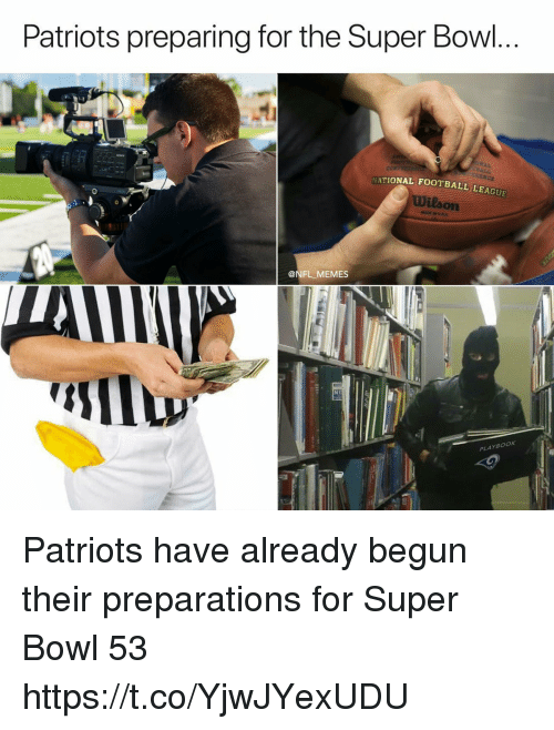 Football, Memes, and Nfl: Patriots preparing ror the Super Bow  ATIONAL FOOTBALL LEAGUE  Wilson  @NFL MEMES  PLAYBOOK Patriots have already begun their preparations for Super Bowl 53 https://t.co/YjwJYexUDU