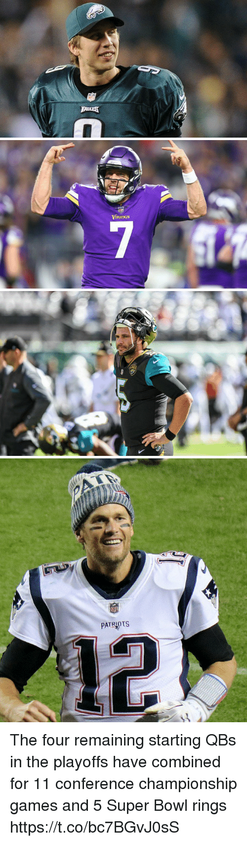 Memes, Patriotic, and Super Bowl: PATRIOTS The four remaining starting QBs in the playoffs have combined for 11 conference championship games and 5 Super Bowl rings https://t.co/bc7BGvJ0sS