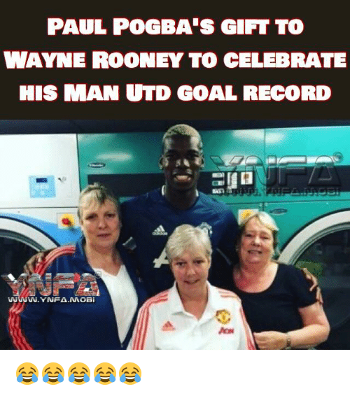 Memes, Celebrities, and 🤖: PAUL POGBA'S GIFT TO  WAYNE ROONEY TO CELEBRATE  HIS MAN UTD GOAL RECORD  WWW.YNFA.MOBi  PCH  Ili  11 ilm, 2 😂😂😂😂😂