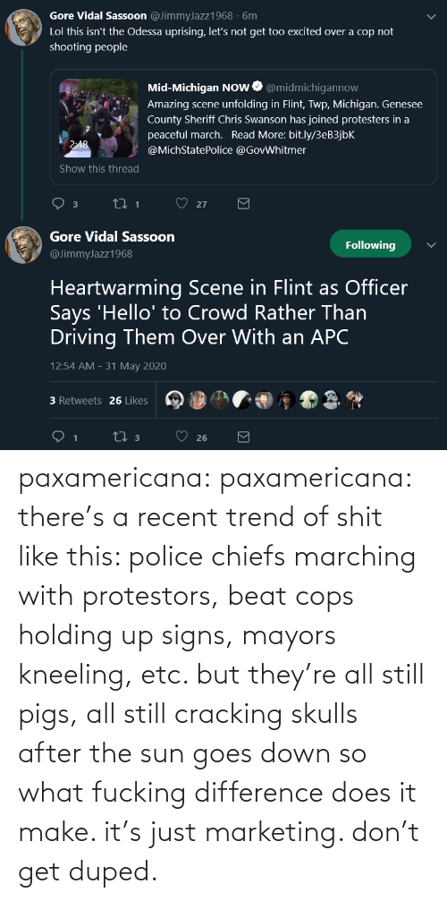 Police, Target, and Tumblr: paxamericana: paxamericana: there's a recent trend of shit like this: police chiefs marching with protestors, beat cops holding up signs, mayors kneeling, etc. but they're all still pigs, all still cracking skulls after the sun goes down so what fucking difference does it make. it's just marketing. don't get duped.
