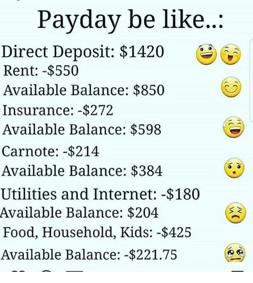 Be Like, Food, and Internet: Payday be like...  Direct Deposit: $1420  Rent: -$550  Available Balance: $850  Insurance: -$272  Available Balance: $598  Carnote: -$214  Available Balance: $384  Utilities and Internet: -$180  Available Balance: $204  Food, Household, Kids: -$425  Available Balance: -$221.75