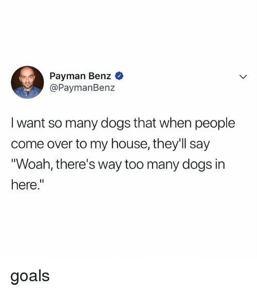 """Come Over, Dogs, and Goals: Payman Benz  @PaymanBenz  I want so many dogs that when people  come over to my house, they'll say  Woah, there's way too many dogs in  here."""" goals"""