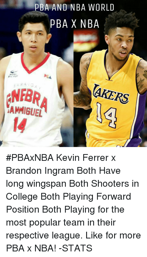 Memes, Shooters, and Brandon Ingram: PBA AND NBA WORLD  PBA X NBA  AMMIGUEL #PBAxNBA  Kevin Ferrer x Brandon Ingram  Both Have long wingspan Both Shooters in College Both Playing Forward Position Both Playing for the most popular team in their respective league.  Like for more PBA x NBA!  -STATS