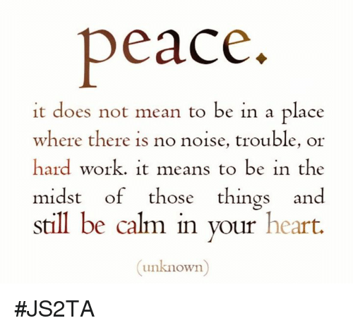 Peace It Does Not Mean to Be in a Place Where There Is No Noise Trouble or Hard Work It Means to Be in the Midst of Those Things and Still Be