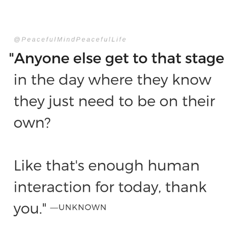 "Memes, Thank You, and Today: @PeacefulMindPeacefulLife  ""Anyone else get to that stage  in the day where they know  they just need to be on their  own?  Like that's enough human  interaction for today, thank  you.""-UNKNOWN"