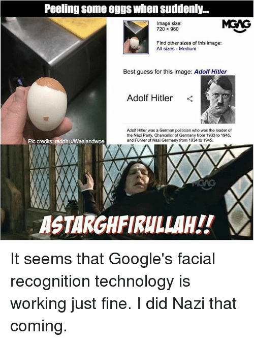 Memes, Party, and Reddit: Peeling some eggs when suddenly...  Image size:  720 x 960  MGAG  Find other sizes of this image:  All sizes Medium  Best guess for this image: Adolf Hitler  Adolf Hitler <  Adolf Hitler was a German politician who was the leader of  the Nazi Party, Chancellor of Germany from 1933 to 1945,  and Führer of Nazi Germany from 1934 to 1945.  Pic credits: reddit u/Wealandwoe  ASTARGHFIRULLAH!! It seems that Google's facial recognition technology is working just fine. I did Nazi that coming.