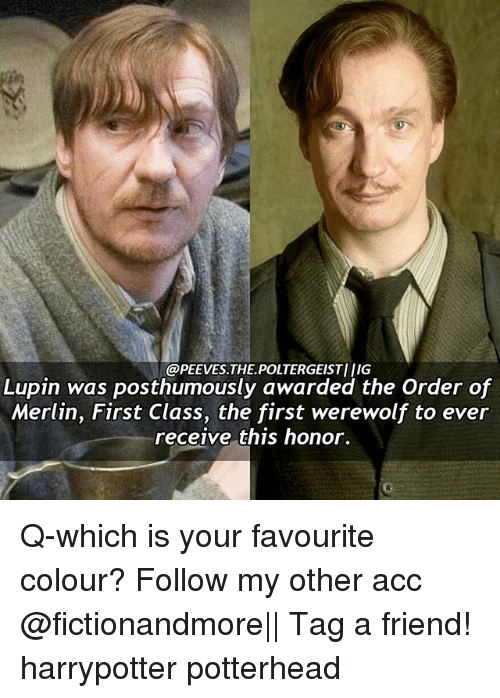 Memes, 🤖, and Merlin: @PEEVES.THE POLTERGEISTI IIG  Lupin was posthumously awarded the Order of  Merlin, First Class, the first werewolf to ever  receive this honor. Q-which is your favourite colour? Follow my other acc @fictionandmore|| Tag a friend! harrypotter potterhead