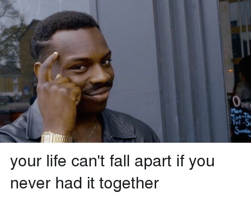 Funny Meme Of Life : Pei mon fri s your life can't fall apart if you never had it