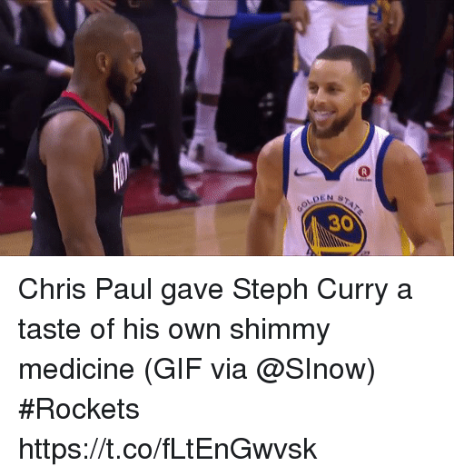 Chris Paul, Gif, and Sports: PEN  30 Chris Paul gave Steph Curry a taste of his own shimmy medicine  (GIF via @SInow) #Rockets  https://t.co/fLtEnGwvsk