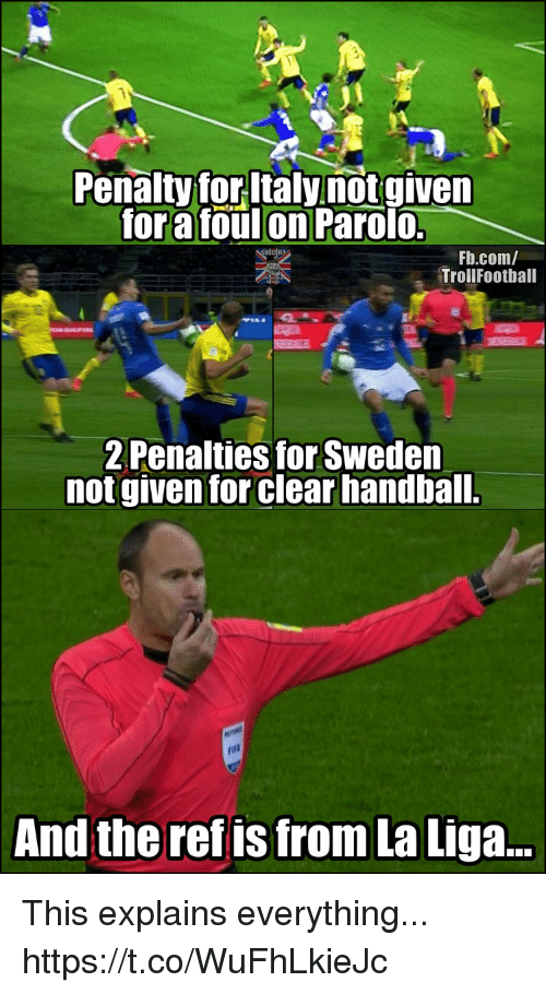 Memes, fb.com, and La Liga: Penalty for ltaly notgiven  for a foulon Parolo.  Fb.com/  TrollFootball  2 Penalties for Sweden  not given for clear handball.  pui  And the ref is from La Liga... This explains everything... https://t.co/WuFhLkieJc