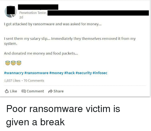 Food Money And Break Penetration Tester 2d L Got Attacked By Ransomware