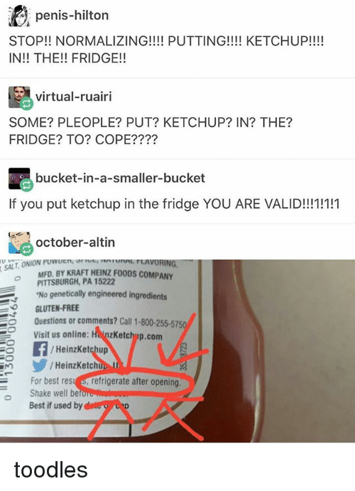 Memes, Toodles, and Best: penis-hilton  STOP!! NORMALIZING!!!! PUTTING!!!! KETCHUP!!!!  IN!! THE!! FRIDGE!!  virtual-ruairi  virtual-ruairi  SOME? PLEOPLE? PUT? KETCHUP? IN? THE?  FRIDGE? TO? COPE????  bucket-in-a-smaller-bucket  If you put ketchup in the fridge YOU ARE VALID!!11!1  octobe-altin  MFD. BY KRAFT HEINZ FOODS COMPANY  PITTSBURGH, PA 15222  No genetically engineered ingredients  GLUTEN-FREE  Questions or comments? Call 1-800-255-5750  Visit us online: HeinzKetchyp.com  Heinzke  /HeinzKetchup  HeinzKetch  For best resu s, refrigerate after opening  o Shake well be  Best if used by toodles