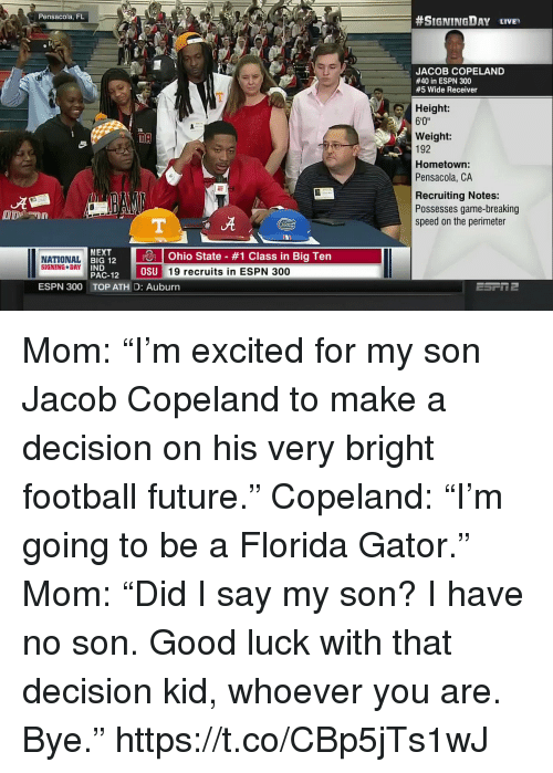 "Espn, Football, and Future: Pensacola, FL  #SIGNINGDAY LIVE,  JACOB COPELAND  #40 in ESPN 300  #5 Wide Receiver  Height:  6'0""  Weight:  192  Hometown  Pensacola, CA  Recruiting Notes:  Possesses game-breaking  speed on the perimeter  ut  NEXT  RI 12 10 