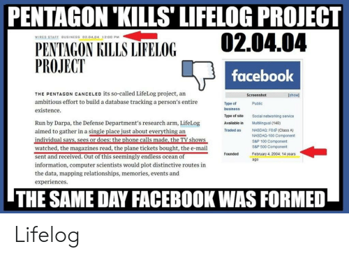 PENTAGON 'KILLS' LIFELOG PROJECT 020404 WIRED STAFF BUSINESS O020404