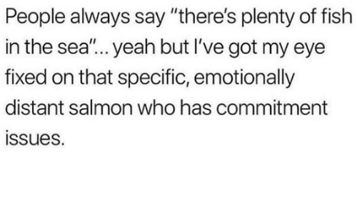 """Yeah, Fish, and Plenty of Fish: People always say """"there's plenty of fish  in the sea""""... yeah but I've got my eye  fixed on that specific, emotionally  distant salmon who has commitment  ssues."""