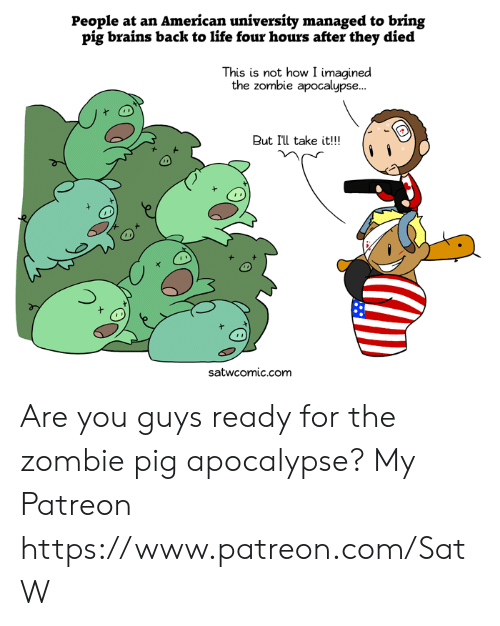 Brains, Dank, and Life: People at an American university managed to bring  pig brains back to life four hours after they died  This is not how I imagined  the zombie apocalypse...  But I'll take it!!!  satwcomic.com Are you guys ready for the zombie pig apocalypse?  My Patreon https://www.patreon.com/SatW