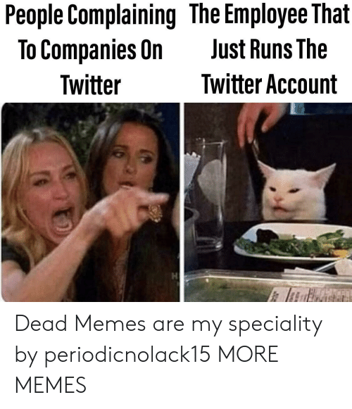 Dank, Memes, and Target: People Complaining The Employee That  To Companies On  Just Runs The  Twitter Account  Twitter Dead Memes are my speciality by periodicnolack15 MORE MEMES