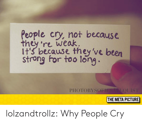 Tumblr, Blog, and Strong: People cry, not because  they 're weak.  it's because they've been  strong for too long  PIHOTOBYSO  THE META PICTURE lolzandtrollz:  Why People Cry