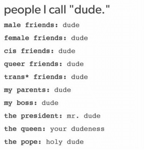 "Dude, Friends, and Parents: people l call ""dude.  male friends: dude  female friends: dude  cis friends: dude  queer friends dude  trans* friends: dude  my parents: dude  my boss: dude  the president: mr. dude  the queen: your dudeness  the pope: holy dude"
