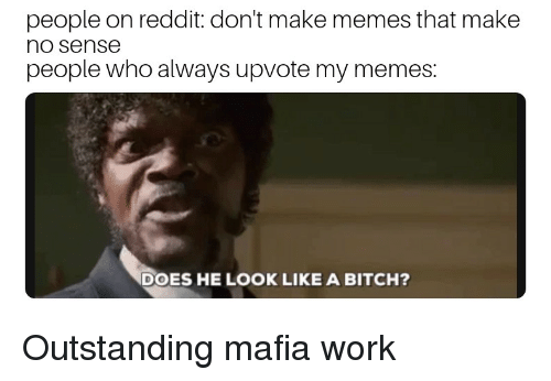 Bitch, Memes, and Reddit: people on reddit: don't make memes that make  no sense  people who always upvote my memes:  DOES HE LOOK LIKE A BITCH?