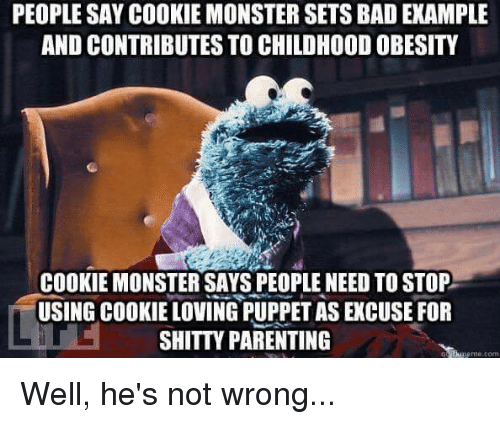 Bad, Cookie Monster, and Funny: PEOPLE SAY COOKIE MONSTER SETS BAD EXAMPLE  AND CONTRIBUTES TO CHILDHOOD OBESITY  COOKIE MONSTER SAYS PEOPLE NEED TO STOP  USING COOKIE LOVING PUPPET AS EXCUSE FOR  SHITTY PARENTING  me.com Well, he's not wrong...