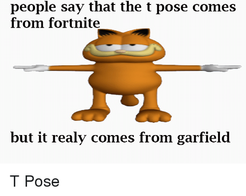 People Say That The T Pose Comes From Fortnite But It Realy Comes From Garfield Garfield Meme On Me Me