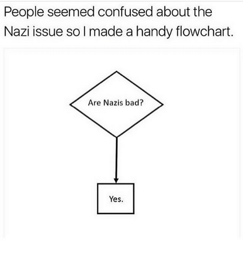 Bad, Confused, and Memes: People seemed confused about the  Nazi issue so l made a handy flowchart.  Are Nazis bad?  Yes