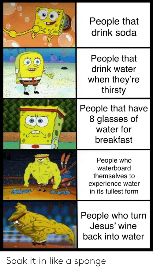 Jesus, Soda, and SpongeBob: People that  drink soda  People that  drink water  when theyre  thirsty  People that have  8 glasses of  water for  breakfast  People Who  Waterboard  themselves to  experience water  in its fullest form  u/Junes very _own  People who turn  Jesus' wine  back into water Soak it in like a sponge