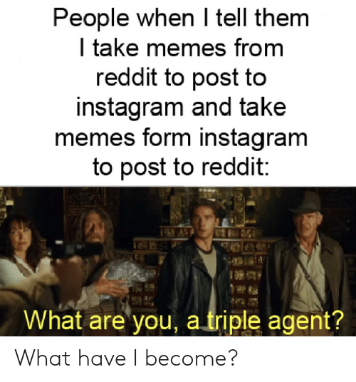 Instagram, Memes, and Reddit: People when I tell them  | take memes from  reddit to post to  instagram and take  memes form instagram  to post to reddit  What are you a triple agent? What have I become?