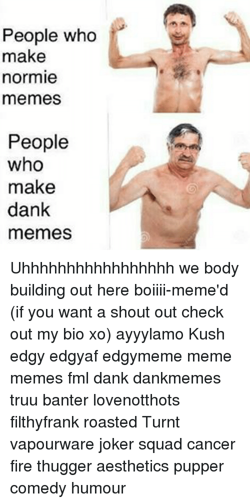 Dank, Fire, and Fml: People who  make  normie  memes  People  who  make  dank  memes Uhhhhhhhhhhhhhhhhh we body building out here boiiii-meme'd (if you want a shout out check out my bio xo) ayyylamo Kush edgy edgyaf edgymeme meme memes fml dank dankmemes truu banter lovenotthots filthyfrank roasted Turnt vapourware joker squad cancer fire thugger aesthetics pupper comedy humour