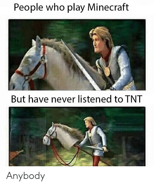 Minecraft, Never, and Tnt: People who play Minecraft  But have never listened to TNT Anybody
