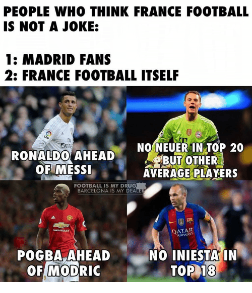 Barcelona, Drugs, and Memes: PEOPLE WHO THINK FRANCE FOOTBALL  IS NOT A JOKE:  1: MADRID FANS  2: FRANCE FOOTBALL ITSELF  NO NEUER IN TOP 20  RONALDO AHEAD  BUT OTHER  OF MESSI  AVERAGE PLAYERS  FOOTBALL IS MY DRUG  BARCELONA IS MY DEA  CHEVROLET  AIRWAYS  POGBA AHEAD  NO INIESTA IN  MODRIC  TOP 18  OF
