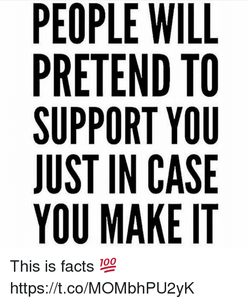 Facts, Memes, and 🤖: PEOPLE WILL  PRETEND TO  SUPPORT YOU  JUST IN CASE  YOU MAKE IT This is facts 💯 https://t.co/MOMbhPU2yK