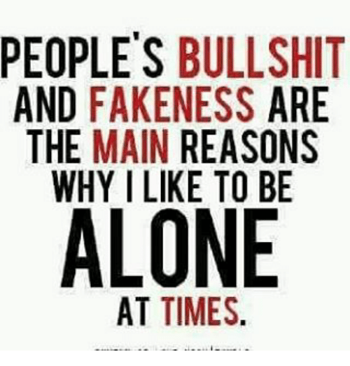 Being Alone, Fake, and Memes: PEOPLES BULLSHIT  AND  FAKENESS  ARE  THE MAIN REASONS  WHY I LIKE TO BE  ALONE  AT TIMES