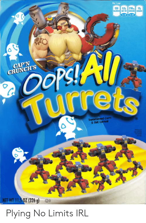 Per 1 P 130 05 210 15 Oop All Turrets Cap N Crunch S Sweetened Corm Oat Cereal Net Wt 1150z 326 G D Plying No Limits Irl Irl Meme On Me Me It's an excellent source of seven essential vitamins and minerals, is low in fat, and contains zero grams of trans fat per serving. meme