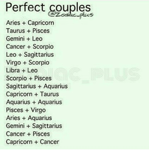 Perfect Couples Aries Capricorn Taurus  Pisces Gemini